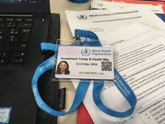 Clara Ducimetière at the WHO Technical Workshop on Investment Treaties and Health